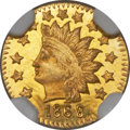 California Fractional Gold , 1868 50C Indian Round 50 Cents, BG-1073, High R.7, MS64 ProoflikeNGC....