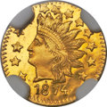 California Fractional Gold , 1874 50C Indian Round 50 Cents, BG-1072, R.6, MS66 ProoflikeNGC....