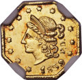 California Fractional Gold , 1853 50C Peacock Reverse 50 Cents, BG-302, Low R.4, MS63 NGC....