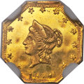 California Fractional Gold , 1874 $1 Liberty Octagonal 1 Dollar, BG-1110, High R.7, MS63Prooflike NGC....