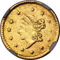 California Fractional Gold , 1854 $1 Liberty Round 1 Dollar, BG-601, R.8 -- Mount Removed -- NGCDetails. AU....