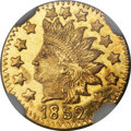 California Fractional Gold , 1852 50C Indian Round 50 Cents, BG-1075, R.7, MS65 Deep ProoflikeNGC....