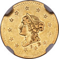 California Fractional Gold , 1854 $1 Liberty Round 1 Dollar, BG-603, High R.6, AU50 NGC....