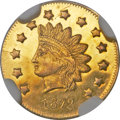 California Fractional Gold , 1872 $1 Indian Round Dollar, BG-1208, Low R.6, MS63 ProoflikeNGC....