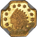 California Fractional Gold , 1876 G$1 Indian Octagonal 1 Dollar, BG-1114, High R.7, MS64Prooflike NGC....