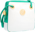 "Luxury Accessories:Bags, Judith Leiber White Leather & Green Lizard Shoulder Bag.Very Good Condition. 8.5"" Width x 7.5"" Height x 2""Depth. ..."