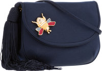 "Judith Leiber Navy Satin Evening Bag Good Condition 6.5"" Width x 4.5"" Height x 2"" Depth"
