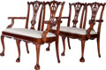 Furniture , A Pair of Chippendale-Style Upholstered and Carved Mahogany Two-Seat Benches, 20th century. 40 inches high x 44 inches wide ... (Total: 2 Items)