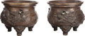 Asian:Japanese, A Pair of Japanese Bronze Tripod Planters, 20th century. 16 inches high x 18 inches diameter (40.6 x 45.7 cm). ... (Total: 2 Items)
