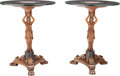 Furniture : Continental, A Pair of Empire-Style Carved Figural Tables with Micromosaic Tops, 20th century. 29-3/4 inches high x 24 inches diameter (7... (Total: 2 Items)