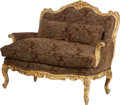 Furniture , A French Régence-Style Upholstered Giltwood Settee with Cushions, 19th century in part. 44-1/2 inches high x 52 inches wide ... (Total: 3 Items)