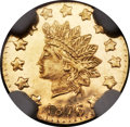 California Fractional Gold , 1876/5 50C Indian Round 50 Cents, BG-1059, R.4, MS66 ProoflikeNGC....