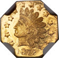 California Fractional Gold , 1872 50C Indian Octagonal 50 Cents, BG-939, Low R.5, MS66+Prooflike NGC....