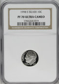Proof Roosevelt Dimes: , 1998-S 10C Silver PR70 Deep Cameo NGC. NGC Census: (165/0). PCGSPopulation (39/0). Numismedia Wsl. Price: $220. (#95287)...