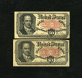 Fractional Currency:Fifth Issue, Fr. 1381 50c Fifth Issue. Two Examples. One example grades VF witha pinhole and the other grades Fine with an appro... (Total: 2notes)