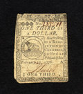 Colonial Notes:Continental Congress Issues, Continental Currency February 17, 1776 $1/3 Very Fine. A veryattractive example of this popular Fugio design which has bold...