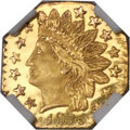 California Fractional Gold , 1875 25C Indian Octagonal 25 Cents, BG-798, Low R.5, MS66 DeepProoflike NGC....