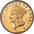 Gold Dollars, 1860-D G$1 AU50 PCGS. Gold CAC. Variety 12-P....