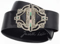 Luxury Accessories:Accessories, Judith Leiber Black Karung, Crystal, and Semiprecious Stone Beltwith Silver Hardware. Very Good to Excellent Condition...