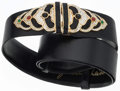Luxury Accessories:Accessories, Judith Leiber Black Karung, Crystal, and Semiprecious Gemstone Beltwith Gold Hardware. Very Good to Excellent Condition. ...