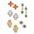 Estate Jewelry:Earrings, Diamond, Colored Diamonds, Glass, Gold, White Gold Earrings. ...