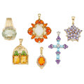 Estate Jewelry:Pendants and Lockets, Multi-Stone, Diamond, Gold, White Gold Pendants. ...