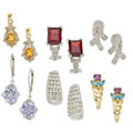 Estate Jewelry:Earrings, Diamond, Multi-Stone, Gold, White Gold Earrings. ...