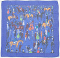 "Luxury Accessories:Accessories, Hermes 140cm Blue, Red & Orange ""Paddock,"" by Jean- Louis ClercSilk Mousseline Scarf. Excellent Condition. 55"" Width x55..."