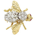 Estate Jewelry:Brooches - Pins, Diamond, Ruby, Gold, White Gold Brooch, Hammerman Bros.. ...