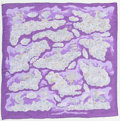 """Luxury Accessories:Accessories, Hermes 140cm Purple & White """"Nuees Imaginaires,"""" by ChristineHenry Silk Mousseline Scarf. Excellent Condition. 55"""" Width..."""