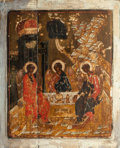 Other, Russian School (19th/20th Century). Large Russian Icon withThree Winged Figures. Tempera and gesso on panel. 28-1/4 x 2...
