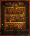 Other, Russian School (19th/20th Century). Russian Icon with MultipleFigures. Tempera and gesso on panel. 11-3/4 x 10-1/4 inch...