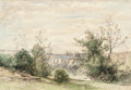 Fine Art - Work on Paper:Watercolor, Henri-Joseph Harpignies (French, 1819-1916). Looking through theTrees, 1882. Watercolor on paper. 14 x 20-1/4 inches (3...