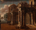 Fine Art - Painting, European:Antique  (Pre 1900), Franco/Flemish School (18th Century). An Architectural Capricciowith a Reflecting Pool. Oil on canvas. 20 x 23-1/2 inch...