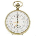 Timepieces:Pocket (post 1900), Swiss Chronograph With Rare Dial. ...
