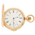 Timepieces:Pocket (post 1900), Swiss 9k Gold 1/4 Hour Repeater Pocket Watch . ...