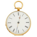 Timepieces:Pocket (pre 1900) , Swiss 14k Gold & Enamel Open Face Pocket Watch. ...