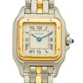 "Timepieces:Wristwatch, Cartier Lady's 18k Gold & Steel ""Panthere"" Wristwatch. ..."