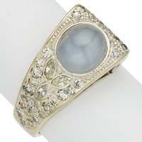 Star Sapphire, Diamond, White Gold Ring