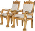 Furniture : Continental, A Pair of Empire-Style Upholstered Giltwood Chairs, 20th century.44 inches high x 28 inches wide x 23-1/2 inches deep (111....(Total: 2 Items)