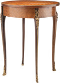 Furniture : French, A Napoleon III Walnut and Mahogany Parquetry Gueridon with GiltBronze Mounts, 19th century. 30-1/2 inches high x 24-1/2 inc...