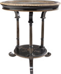 Furniture : French, A Napoleon III Ebonized Wood and Brass Gueridon with Pietra DuraTop, circa 1870. 26-1/2 inches high x 24 inches diameter (6...