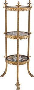 Furniture : French, A Gilt Bronze Three-Tier Side Table with Specimen Marble and Micromosaic Tops, 20th century. 41 inches high (104.1 cm). ...