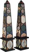 Decorative Arts, Continental, A Large Pair of Specimen Marble Obelisks, 20th century. 40-1/4inches high (102.2 cm). ... (Total: 2 Items)