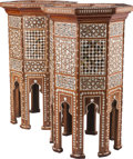 Furniture : Continental, A Pair of Moorish Hardwood Side Tables with Bone andMother-of-Pearl Inlay, 20th century. 29-1/2 inches high x 17-3/4inches... (Total: 2 Items)