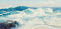 Fine Art - Painting, American:Modern  (1900 1949)  , Bennett Bradbury (American, 1914-1991). Seascape. Oil oncanvas. 18 x 36 inches (45.7 x 91.4 cm). Signed lower left:B...