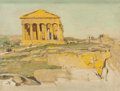 Fine Art - Painting, American:Modern  (1900 1949)  , Anna Richards Brewster (American, 1870-1952). Greek Temple,Girgenti, Sicily, 1926. Oil on canvas laid on masonite. 10 x...
