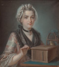 Fine Art - Painting, European:Antique  (Pre 1900), French School (18th Century). A Young Woman with her PetBird. Pastel on paper. 25 x 22 inches (63.5 x 55.9 cm)(sight)...