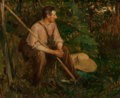 Fine Art - Painting, European:Antique  (Pre 1900), French School (Early 20th Century). Man Resting with Scythe.Oil on canvas. 15 x 18 inches (38.1 x 45.7 cm). Signed indi...