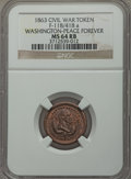 Civil War Patriotics, 1863 Washington - Peace Forever MS64 Red and Brown NGC, Baker-485,Fuld-118/418a; Undated Flag of Our Union - Dix MS64 Red and...(Total: 3 tokens)